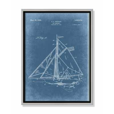 "Casa Fine Arts 'Sailboat 1 Blueprint  - Blue' - Floater Frame Graphic Art on Canvas Frame Color: Silver Framed, Size: 16"" H x 12"" W x 2"" D - Perigold"