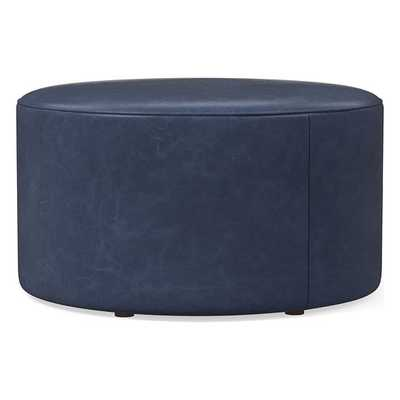 Isla Large Ottoman, Poly, Ludlow Leather, Navy, Concealed Supports - West Elm