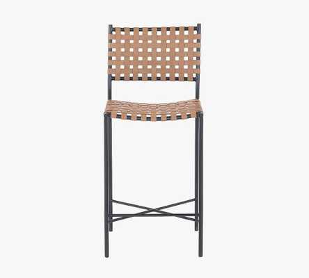 Kleio Woven Leather Barstool, Natural - Pottery Barn