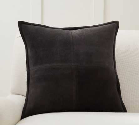 """Pieced Suede Pillow Cover, 20 x 20"""", Charcoal - Pottery Barn"""