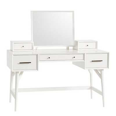 Mid-Century Standard Desk Vanity, White - West Elm
