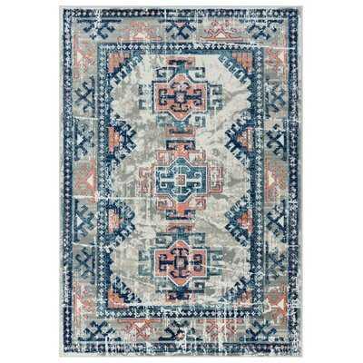 Gardette Moroccan Gray/Blue/Coral Area Rug - Wayfair