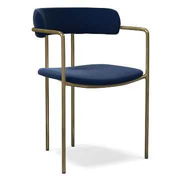 Lenox Dining Chair, Performance Velvet, Ink Blue, Blackened Brass - West Elm