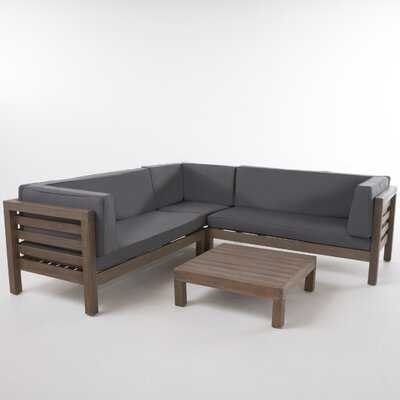 Seaham 4 Piece Sectional Seating Group with Cushions - Wayfair