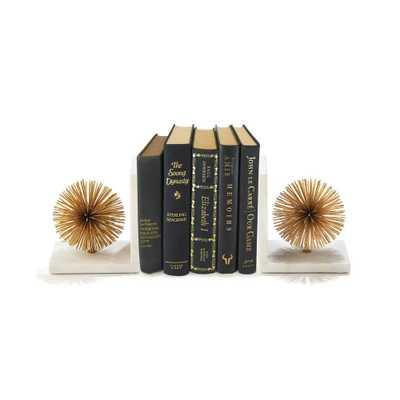 Two's Company Set of 2 Gold Starburst Bookends - Iron/Marble - Home Depot