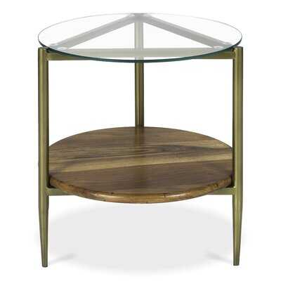 Middle Village Glass Top 3 Legs End Table with Storage - Wayfair