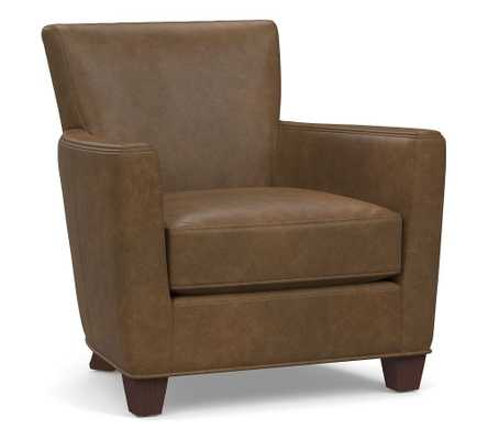 Irving Square Arm Leather Armchair, Polyester Wrapped Cushions, Churchfield Chocolate - Pottery Barn