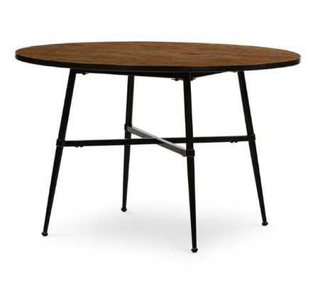 Juno Reclaimed Wood Round Dining Table, Dark Bronze - Pottery Barn
