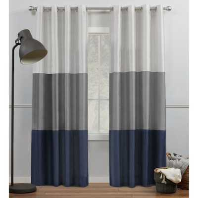 Amalgamated Textiles Chateau Light Filtering 54 in. W x 96 in. L Grommet Top Curtain Panel in Navy/Grey (2 Panels) - Home Depot