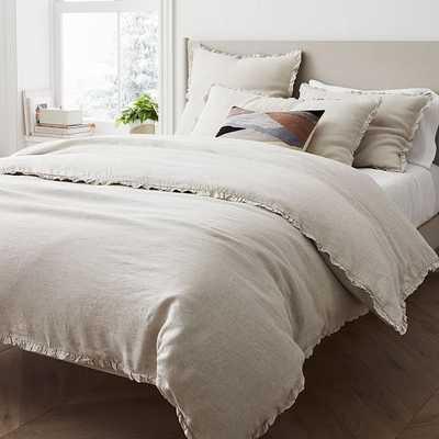 European Linen Ruffle Duvet, Full/Queen Duvet Cover, Natural Flax - West Elm