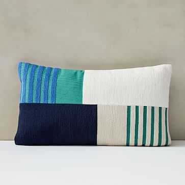 "Corded Striped Blocks Pillow Cover, 12""x21"", Midnight - West Elm"