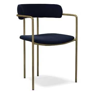Lenox Dining Chair, Distressed Velvet, Ink Blue, Blackened Brass - West Elm