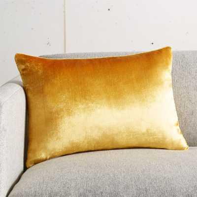 "18""x12"" Viscose Mustard Velvet Pillow with Feather-Down Insert - CB2"