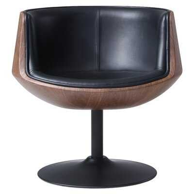 "Rudd 27.5"" W Faux Leather Swivel Barrel Chair - Wayfair"