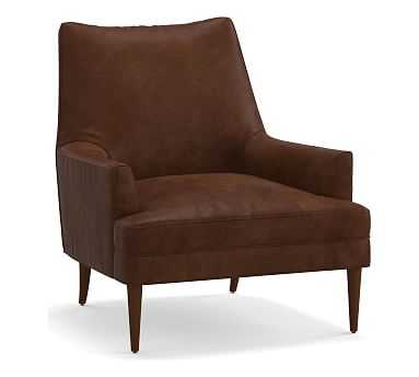 Reyes Leather Armchair, Polyester Wrapped Cushions, Vegan Java - Pottery Barn