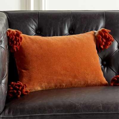 "18""x12"" Bia Tassel Ginger Pillow with Down-Alternative Insert - CB2"