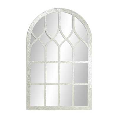 Litton Lane Add dimension with luminous coastal style to your space with this large cathedral window mirror, featuring opalescent freshwater pearl - Home Depot