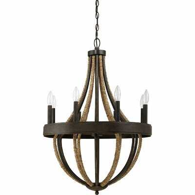 Funches 8 - Light Candle Style Empire Chandelier with Rope Accents - Wayfair