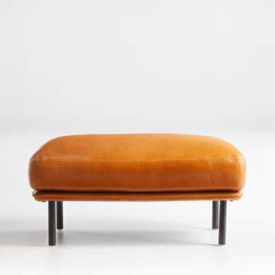 Wells Leather Ottoman - Crate and Barrel