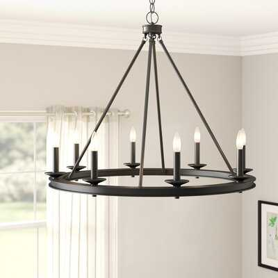 Poynor 8 - Light Candle Style Wagon Wheel Chandelier - Birch Lane
