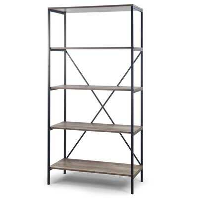 August 67 In. Light Brown Shelf Etagere Bookcase Media Center With Metal Frame - Wayfair