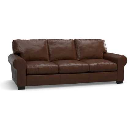 """Turner Roll Arm Leather Apartment Sofa 2-Seater 68.5"""", Down Blend Wrapped Cushions, Legacy Dark Caramel - Pottery Barn"""