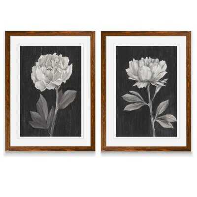 'Black and White Flowers III' - 2 Piece Picture Frame Painting Print Set - Wayfair