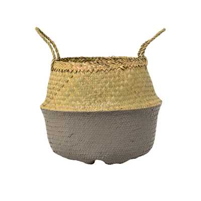 Medium Beige & Grey Collapsible Seagrass Basket with Handles - Moss & Wilder
