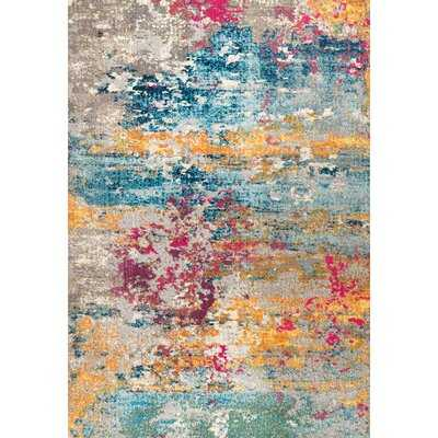 Hiroko Abstract Blue/Yellow Area Rug - Wayfair