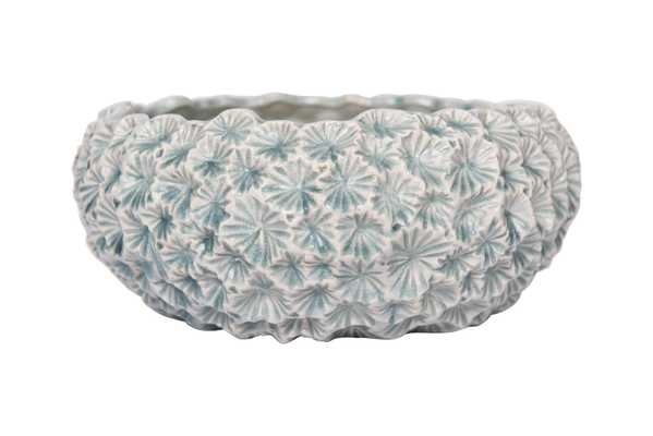 Light Blue Ceramic Planter with Flower Texture - Nomad Home