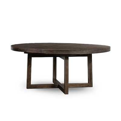 Logan Round Expandable Dining Table, Rubbed Black - West Elm