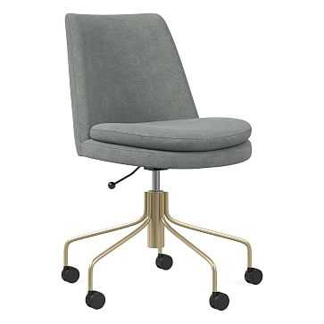 Finley Office Chair, Distressed Velvet, Mineral Gray, Antique Brass - West Elm