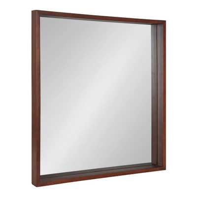 Kate and Laurel Hutton Square Walnut Brown Wall Mirror - Home Depot