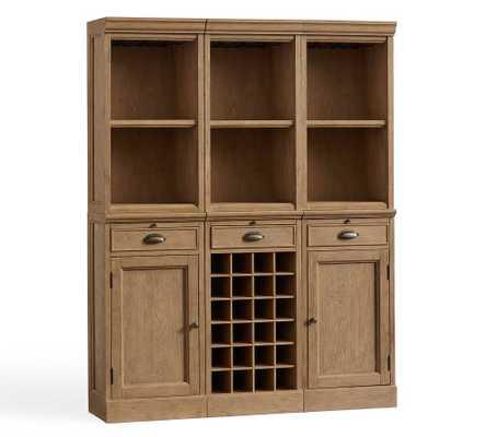 "Modular Bar 54"" System (3 Open Hutch, 2 Wood Door Base, 1 Wine Grid Base), Seadrift - Pottery Barn"