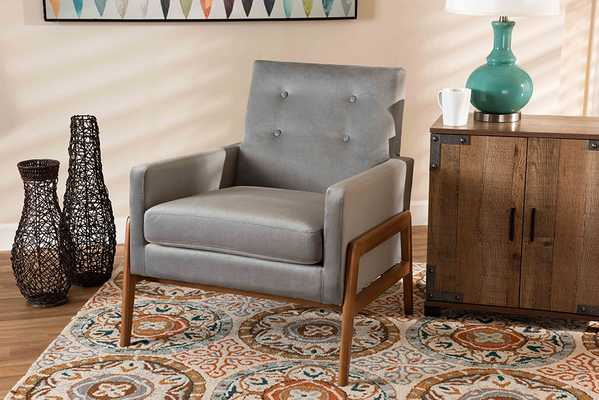 Baxton Studio Perris Mid-Century Modern Grey Velvet Fabric Upholstered and Walnut Brown Finished Wood Lounge Chair - Lark Interiors