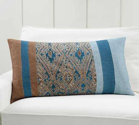 "Izal Pieced Lumbar Pillow Cover, 20 x 36"", Blue Multi - Pottery Barn"