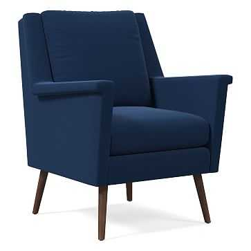 Carlo Mid-Century Chair, Poly, Astor Velvet, Ink Blue, Pecan - West Elm