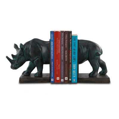 SAN PACIFIC INTL Black Rhinoceros Bookends (Set of 2) - Home Depot