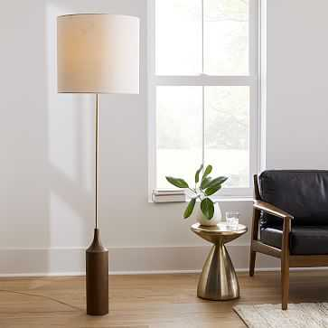 Hudson Floor Lamp, White Linen, Cool Walnut, Brass - West Elm