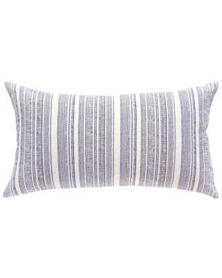 hmong striped large lumbar pillow in cream with navy, cover - PillowPia