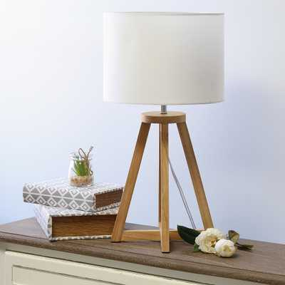 "Simple Designs 19 1/4""H Natural Wood White Accent Table Lamp - Style # 85W65 - Lamps Plus"