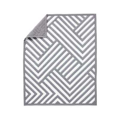 Grey Geometric Crib Quilt - Crate and Barrel