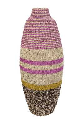"25""H Handwoven Bamboo & Seagrass Vase - Nomad Home"