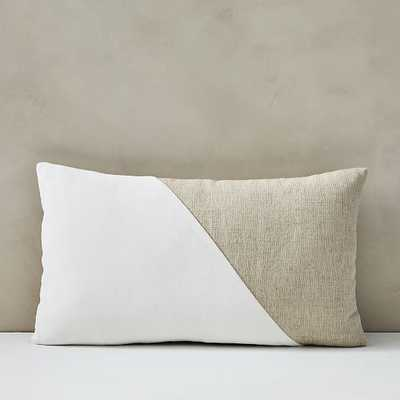 "Cotton Linen + Velvet Lumbar Pillow Cover with Down Insert, Stone White, 12""x21"" - West Elm"
