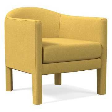 Isabella Upholstered Chair, Poly, Basket Slub, Dark Horseradish - West Elm