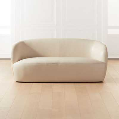 Gwyneth Ivory Leather Loveseat - CB2