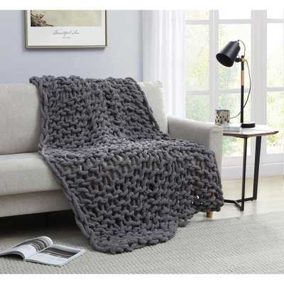 Morgan Home MHF Home Chunky Knit Chenille Grey Throw Blanket (40 in. x 60 in.), Gray - Home Depot