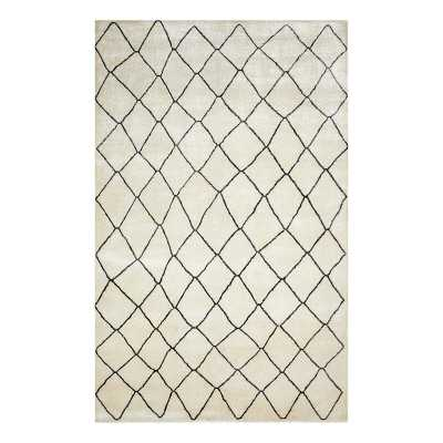 Solo Rugs The Solo Collection Moroccan Bohemian Hand-Knotted Silk Ivory Area Rug Rug Size: Rectangle 9' x 12' - Perigold