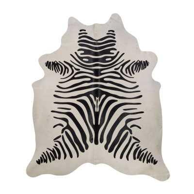 Saddlemans Zebra Cowhide Black/White Area Rug - Perigold