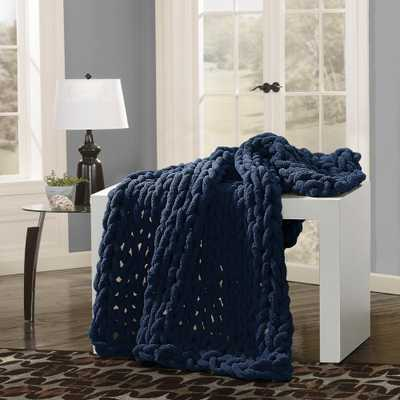 AMERICAN HERITAGE Navy Chunky Chenille Throw, Blue - Home Depot